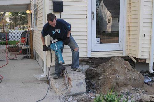 Jackhammer porch destruction